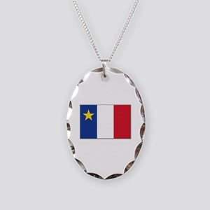Flag of Acadia Necklace Oval Charm