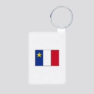 Flag of Acadia Aluminum Photo Keychain