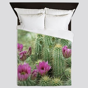 Pink Flower Cactus Queen Duvet