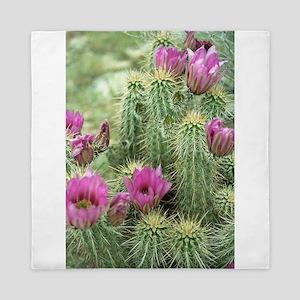Pink Flower Cactus Queen Duvet