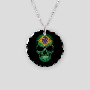 Brazilian Flag Skull on Black Necklace Circle Char