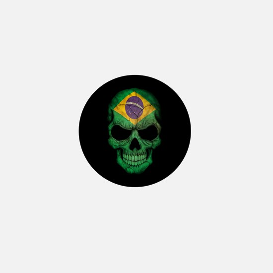 Brazilian Flag Skull on Black Mini Button