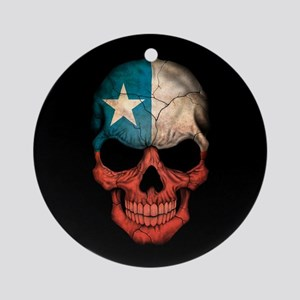 Chilean Flag Skull on Black Ornament (Round)