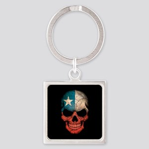 Chilean Flag Skull on Black Keychains