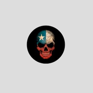 Chilean Flag Skull on Black Mini Button