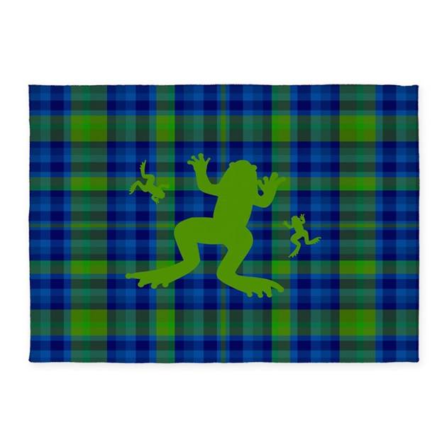 Frog Pond Rug: Frogs In A Pond Plaid 5'x7'Area Rug By Thepluralmind