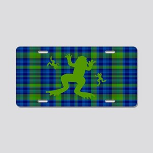 Frogs in a Pond Plaid Aluminum License Plate