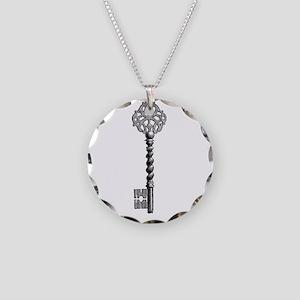 Vintage Key Necklace Circle Charm