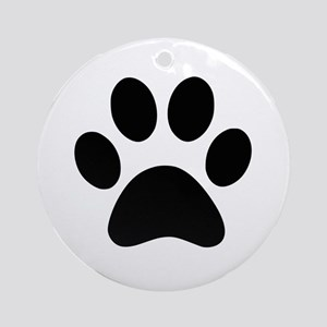 Black Paw print Ornament (Round)