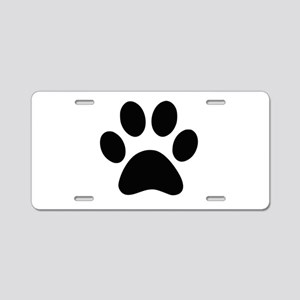Black Paw print Aluminum License Plate