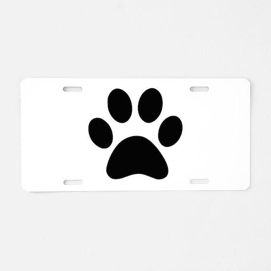 Black Paw print Aluminum License Plate