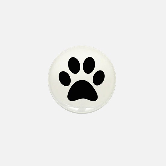 Black Paw print Mini Button