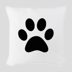 Black Paw print Woven Throw Pillow