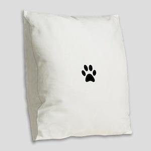 Black Paw print Burlap Throw Pillow