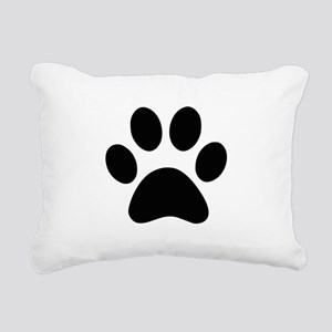 Black Paw print Rectangular Canvas Pillow