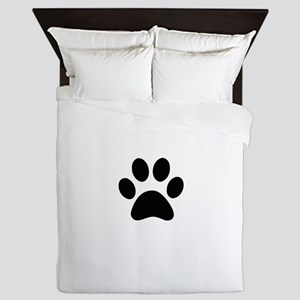 Black Paw print Queen Duvet