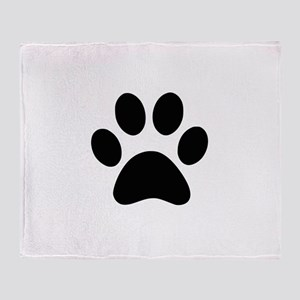 Black Paw print Throw Blanket