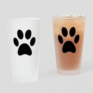 Black Paw print Drinking Glass