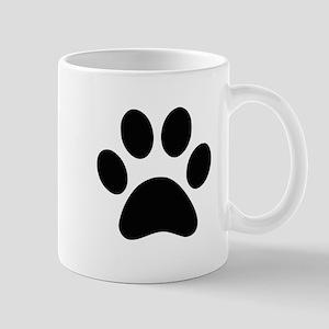 Black Paw print Mugs