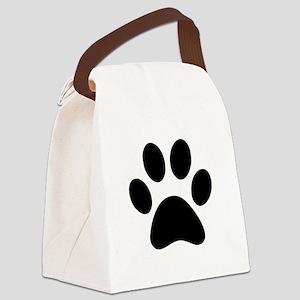Black Paw print Canvas Lunch Bag