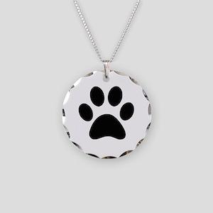 Black Paw print Necklace Circle Charm