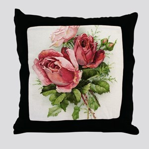 Vintage Antique Roses Throw Pillow