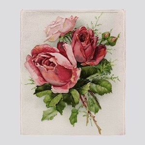 Vintage Antique Roses Throw Blanket
