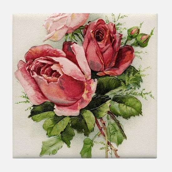 Vintage Antique Roses Tile Coaster