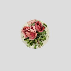 Vintage Antique Roses Mini Button