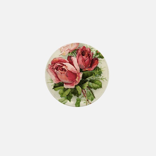 Vintage Antique Roses Mini Button