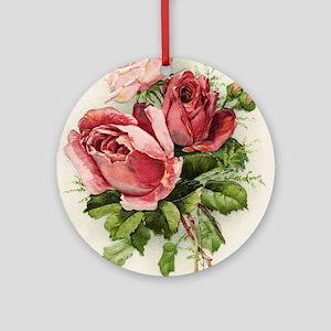 Vintage Antique Roses Round Ornament