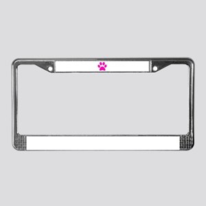 Hot Pink Paw print License Plate Frame