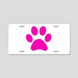 Hot Pink Paw print Aluminum License Plate