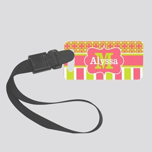 Coral Green Stripe Floral Small Luggage Tag