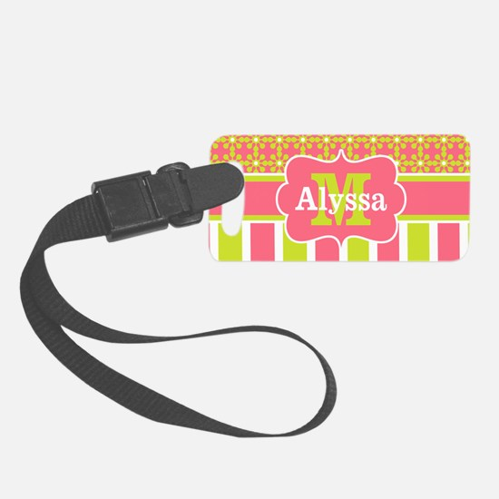 Coral Green Stripe Floral Luggage Tag
