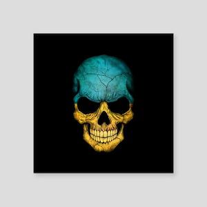 Ukrainian Flag Skull on Black Sticker
