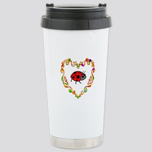 Fancy Heart Ladybug Stainless Steel Travel Mug