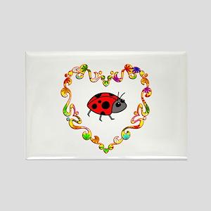 Fancy Heart Ladybug Rectangle Magnet
