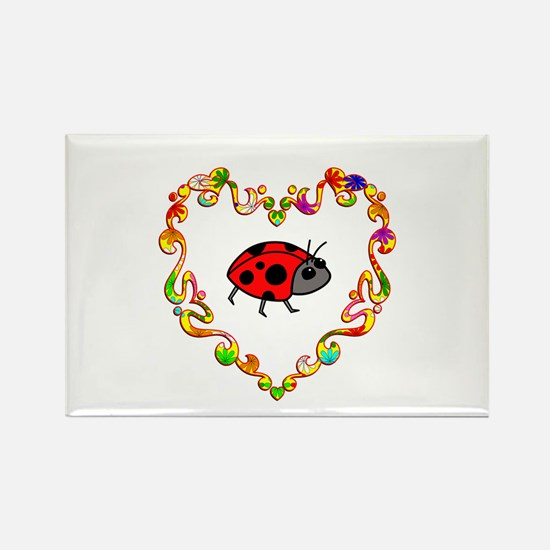 Fancy Heart Ladybug Rectangle Magnet