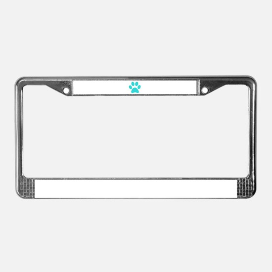 Turquoise Paw print License Plate Frame