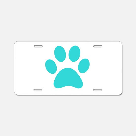 Turquoise Paw print Aluminum License Plate
