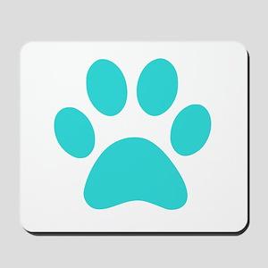 Turquoise Paw print Mousepad
