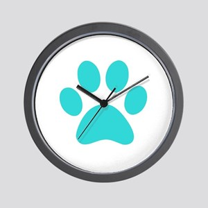 Turquoise Paw print Wall Clock