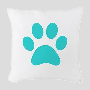 Turquoise Paw print Woven Throw Pillow