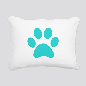 Turquoise Paw print Rectangular Canvas Pillow