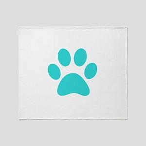 Turquoise Paw print Throw Blanket