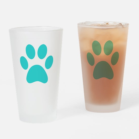 Turquoise Paw print Drinking Glass