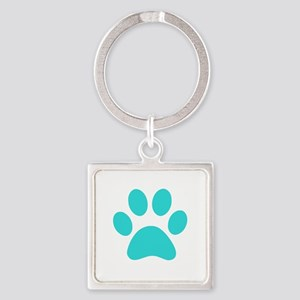 Turquoise Paw print Keychains