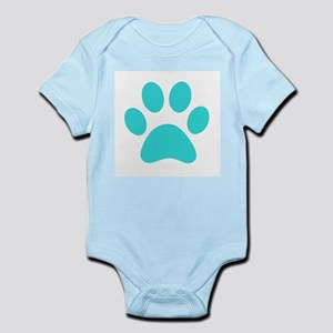 Turquoise Paw print Body Suit