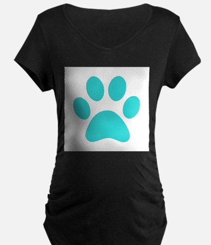 Turquoise Paw print Maternity T-Shirt
